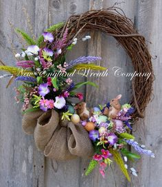 Easter Wreath, Spring Wreath, Woodland Wreath, Easter Bunny, Country Cottage, Designer, Spring Floral