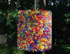 Decoracion con reciclado! - lampara de popotes Straw LAMP