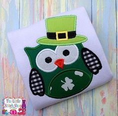 St. Patrick Owl Applique - 5x7 | What's New | Machine Embroidery Designs | SWAKembroidery.com The Little Stitch Shop
