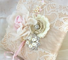 pink and champange wedding | Ring Bearer Pillow - Bridal Pillow in Champagne, Nude, Blush Pink and ...