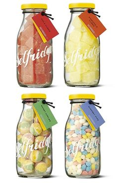 I've just seen the perfect jars to make these with for a fraction of the cost to make fun little presents (sorry Selfridges - love you but your mark up is Candy Packaging, Food Packaging, Packaging Design, Bottle Packaging, Chocolate Packaging, Coffee Packaging, Label Design, Starbucks Bottles, Edible Wedding Favors