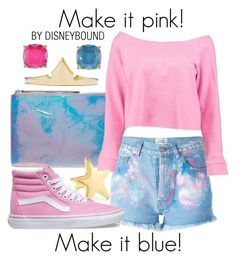 """Make it pink! Make it blue!"" by leslieakay ❤ liked on Polyvore featuring Forte Couture, Kara, Boohoo, Kenneth Jay Lane, Vans, Kate Spade, disney, disneybound and disneycharacter"
