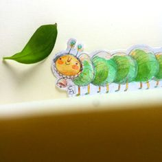 Bookmark made by Cristina Manea. #watercolor #bookmark #craft #handmade #illustration #graphicart #caterpillar