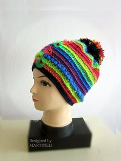 Colorful PomPom Beanie Hat Slouchy BeanieHat Crochet by MARTINELI
