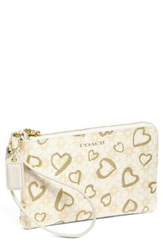 COACH Box Hearts Wristlet available at #Nordstrom Cheap Coach Purse Handbags #Cheap #Coach #Purse #Handbags