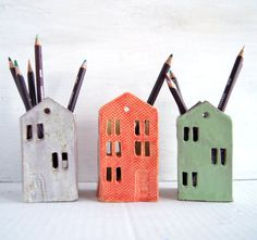 Colorful Tin House-Ceramic Pencil Holder-Pen holder-Home by Vsocks