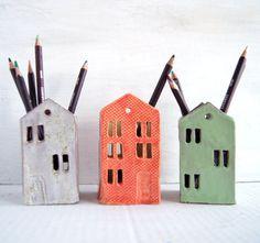 Teacher Appreciation Gift-Teacher Gift-Ceramic House-End of year teacher gift-Office-Desk-Pencil Holder