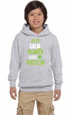 keep calm plants have protein funny Youth Hoodie