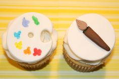 Fondant cupcake toppers Artist  Painting Palette and Brush