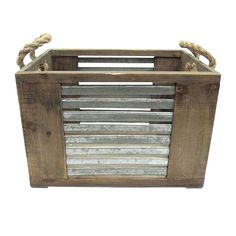 Wood Crate W/ Metal Stripes and Rope Handles