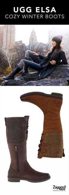 Class up your cozy look this winter season with the ultrachic UGG Elsa boots. Crafted with waterproof leather upper and a textile shaft for added appeal. Features a lace-up and side zipper closure for an adjustable and comfortable fit, 7mm curly UGGpure lining wicks away moisture for all-day wear, generously cushioned footbed for optimal comfort and a clear spider rubber infused with cork for durable traction in any condition.