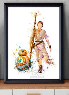 Star Wars The Force Awakens Rey and BB-8 Watercolor Painting Art Poster Print Wall Decor https://www.etsy.com/shop/genefyprints