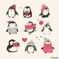 Ad: Cute penguin icons, Christmas cards by Marish on Cutest penguins collection ever! 9 Hand drawn illustrations of sweet penguins that will warm your Christmas :) Included - characters, Pinguin Illustration, Illustration Noel, Winter Illustration, Christmas Illustration, Christmas Doodles, Merry Christmas Greetings, Christmas Art, Xmas, Merry Christmas Drawing
