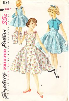 Vintage Rockabilly Empire Waist Dress With Bolero Jacket For Girls', Tweens', And Young Teens - 1950s Simplicity Pattern No. 1184 - Size 7