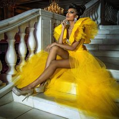Yellow Fashion, Black Girl Fashion, Look Fashion, High Fashion, Corpo Sexy, Mini Dress Formal, Dress Long, High Low Prom Dresses, Cheap Prom Dresses