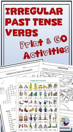 Irregular Past Tense Verbs No Prep Worksheets and Activities. For Gen Ed Grades and ESL EFL English Language Learners of all ages. Teaching English Grammar, English Language Learners, Language Arts, Esl Lessons, English Lessons, Teacher Resources, Teaching Ideas, Esl Resources, Grammar Activities