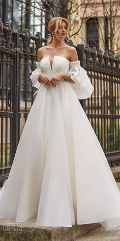 anna sposa 2021 bridal detached puff sleeves strapless notched neckline ruched bodice clean minimalist a line ball gown wedding dress chapel train (17) mv -- La Petra by Anna Sposa Group 2021 Wedding Dresses | Wedding Inspirasi  #wedding #weddings #bridal #weddingdress #weddingdresses #bride #fashion #collection:Barcelona #label:AnnaSposa #week:262020 #year:2021 ~ Simple Wedding Dress With Sleeves, Fit And Flare Wedding Dress, Country Wedding Dresses, Wedding Dress Sleeves, Modest Wedding Dresses, Ball Dresses, Ball Gowns, Bridal Gowns, Wedding Gowns