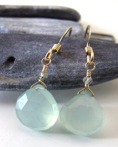 aqua chalcedony eardrops, adove fine jewelry