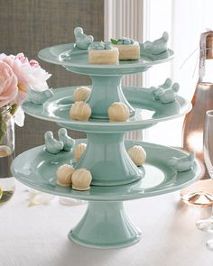 Three-Tiered Bluebirds Cake Stand