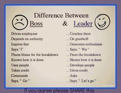 I like this chart on boss vs leader.