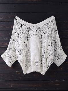 V Neck Crochet Batwing Cover Up - OFF WHITE ONE SIZE