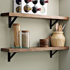 Salvage wood shelves with simple metal brackets. Great idea for a bathroom shelf.