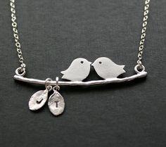 Pájaros del amor familiar inicial collar cadena de plata por untie