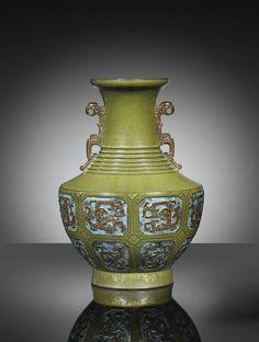 MITATING-BRONZE TEA-DUST PORCELAIN VASE, CHINA, QING DYNASTY, QIANLONG MARK AND PERIOD (1736-1795)