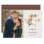 Chic Watercolor Rose Bouquet Photo Thank You Card