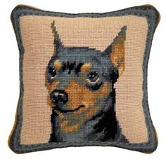Min Pin Portrait Wool Needlepoint pillow