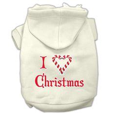 I Heart Christmas Screen Print Pet Hoodies Cream Size XXXL (20)
