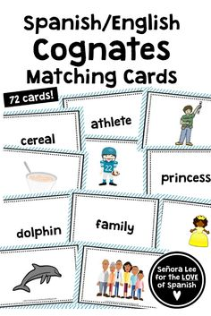 Make connections between Spanish and English with these 36 cognates! Build cognate awareness as students match a picture to an English word. These cards are very versatile - can be used in small groups or centers as a concentration game, as a timed matchi English Games, English Activities, Spanish English, English Words, Learn English, Spanish Cognates, Concentration Games, English Language Learners, Matching Cards