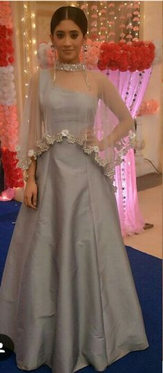 May 2020 - Lovely Grey Silk Bollywood Style Gown for Party Gown Party Wear, Party Wear Indian Dresses, Designer Party Wear Dresses, Indian Gowns Dresses, Dress Indian Style, Indian Fashion Dresses, Indian Wedding Outfits, Indian Designer Outfits, Party Gowns