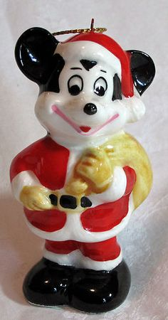 Vintage Porcelain Disney Mickey Mouse Santa Christmas Ornament, Made in Japan! | eBay