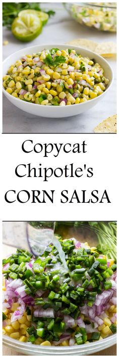 Chipotle's Corn Salsa Copycat Chipotle's Corn Salsa- two key ingredients give this salsa it's irresistible flavor! - Serve with fishCopycat Chipotle's Corn Salsa- two key ingredients give this salsa it's irresistible flavor! - Serve with fish Chipotle Corn Salsa, Salsa Guacamole, Chipotle Recipes, Mexican Food Recipes, Vegetarian Recipes, Cooking Recipes, Healthy Recipes, Smoker Recipes, Rib Recipes