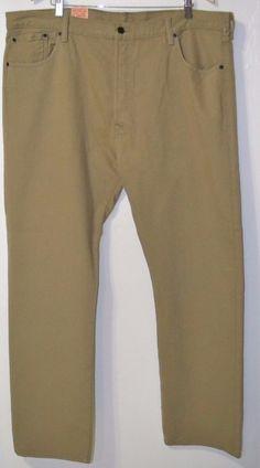NWT LEVIS 501 Straight Leg Button Fly Beige Khaki Jeans 42x32 STYLE #005011212 #Levis #ButtonfitStraightleg