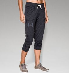 Women's UA Charged Cotton® Tri-Blend Capri | Under Armour US-- I found these in-store and they are SUPER comfortable, just the right amount of looseness. A nice alternative for the gym or for knocking around the house. The only drawback is that the waistline comes up a bit high, but you can roll it over if you need to. My new favorite workout capris!