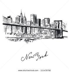 new york - hand drawn metropolis by Canicula, via Shutterstock