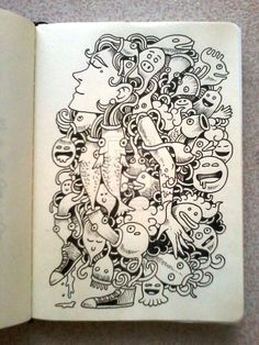 Abstract Doodle Zentangle Coloring pages colouring adult detailed advanced… Kawaii Doodles, Cute Doodles, Kawaii Art, Zen Doodle, Doodle Art, Doodle Characters, Doodle Inspiration, Doodles Zentangles, Doodle Drawings