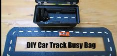 Create your own car track using a rubber door mat and white paint. Easy to make for hours of fun. The entire busy bag cost Airplane Games For Kids, Rubber Door Mat, Busy Boxes, Diy Car, Love Car, Kids Bags, Create Your Own, Cars, Business