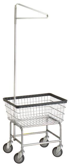 Wire Laundry Carts | Laundry Hampers | Narrow Laundry Cart with Single Pole Rack