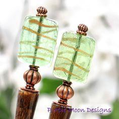 """Green Copper Hair Sticks, 4.5 inch Handmade Hair Jewels, Chinese Hair Pins, Pair of Hair Bun Pins, Hair Chop Sticks, Green Slide - """"Imagine"""""""