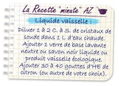 Recette minute AZ liquide vaisselle avec cristaux de soude et savon noir