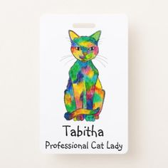 Rainbow Cat Badge - animal gift ideas animals and pets diy customize