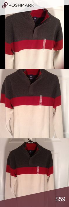 🍀🍀🍀SALE- Mens Cotton Color Block Sweater Lg NWT Zipper.  Machine wash. GAP Sweaters Zip Up