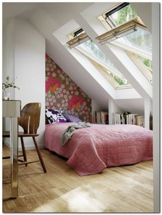 5 Ways to a Stylish 5 Ways to a Stylish Loft Conversion - make your attic the highlight of your home. How to create a stylish loft conversion particularly if you want a loft bedroom or attic office. How would you convert your attic? Home, Dream Bedroom, My Ideal Home, Home Bedroom, House Styles, Bedroom Design, House Design, Sweet Home, Stylish Loft