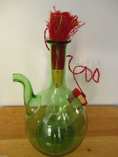 Green Glass Sangria Decanter Hand Blown Glass With Ice Chamber