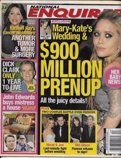 National Enquirer Magazine John Edwards Cher Britney Spears Tiger Woods 2010 for sale online National Enquirer, John Edwards, Media Studies, Mary Kate Olsen, Old Magazines, Hollywood Celebrities, Mistress, Famous People