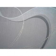 Tapeta vliesová bílé pruhy a stříbrné řetízky