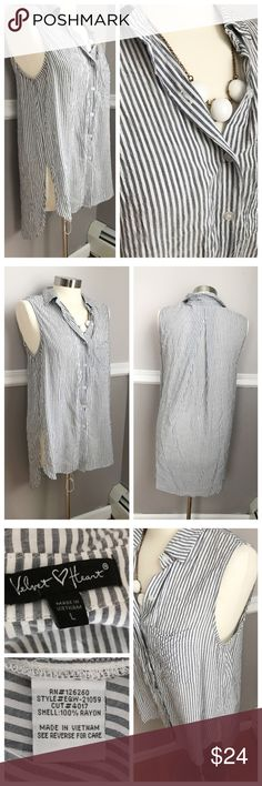 High Low Button Down Stripped Sleeveless Shirt Sleeveless shirt with longer back than front for a high low look. Great to wear with leggings! Collar and button down. White and slate blue thin stripes. BUNDLES 20% OFF 🎉 Velvet Heart Tops